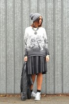 heather gray Bershka sweater - black H&M jacket - black Bershka skirt