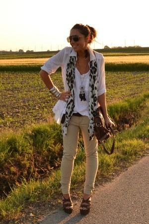 ivory top Zara top - ivory basic shirt Zara shirt - olive green scarf H&M scarf