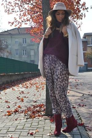 crimson H&M sweater - ivory Zara coat - eggshell Topshop hat