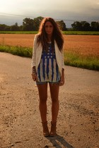 camel boots asos boots - camel blazer H&M blazer - periwinkle denim shorts H&M s