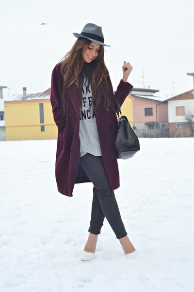 gray Zara pants - crimson H&M coat - heather gray H&M hat - black OASAP bag