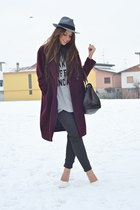 gray Zara pants - crimson H&M coat - heather gray H&M hat - black OASAP bag