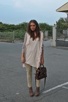 beige Zara cardigan - pink H&M dress - beige H&M pants - brown asos purse - brow