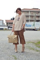 beige H&M sweater - tan Forever 21 boots - beige fashiontagit bag