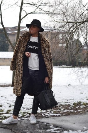 camel Forever 21 coat - black Celine bag - white Adidas sneakers