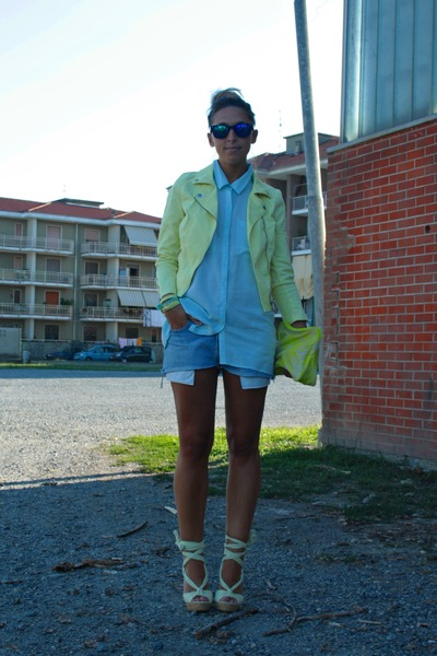 light yellow H&M jacket - light blue H&M shirt - light yellow H&M bag