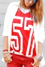 White-bershka-bag-red-zara-pants-red-river-island-t-shirt-white-h-m-wedges