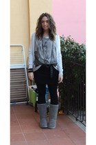 gray H&M sweater - gray Zara t-shirt - black no brand belt - H&M skirt - black H