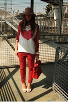 camel hat Bershka hat - red bag wholesale-dressnet bag - ivory wedges no brand w