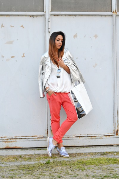 silver Zara jacket - silver Miista shoes - white Zara shirt - white Bershka bag