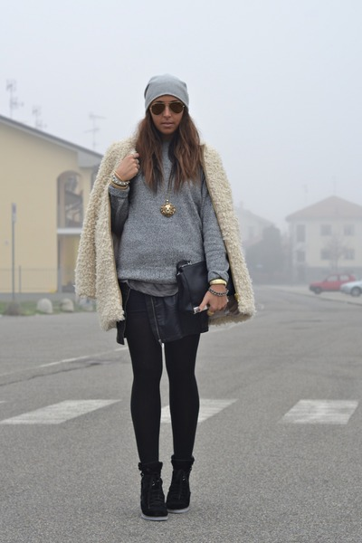 black Zara bag - camel Zara coat - silver scout hat