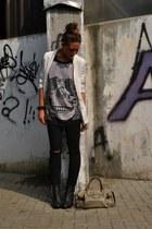 ivory blazer H&M blazer - black boots H&M boots