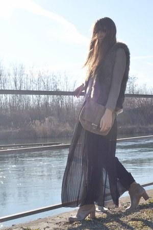black maxi-skirt Zara skirt - camel very old boots italian brand boots