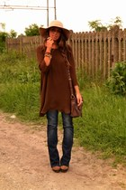brown boots Urban Outfitters boots - dark brown dress Zara dress - navy jeans H&