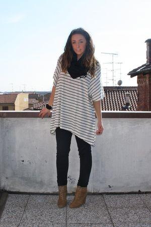 black H&M scarf - beige H&M shirt - black Zara pants - beige Zara shoes - black
