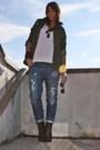Brown-zara-white-h-m-man-top-blue-take-two-jeans-brown-silvian-heach-boots