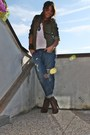 Brown-zara-white-h-m-man-top-blue-take-two-jeans-brown-silvian-heach-boots