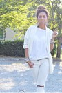 White-new-look-shoes-white-zara-blazer-heather-gray-celine-bag