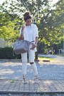White-new-look-shoes-white-zara-blazer-heather-gray-celine-bag