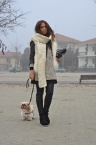 black Jeffrey Campbell wedges - eggshell Zara dress - cream H&M scarf