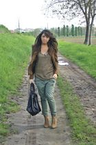 brown Zara blazer - brown Zara shirt - green Zara pants - brown Zara shoes - bla