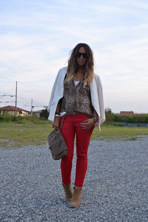 red Zara pants - camel asos boots - ivory H&amp;M blazer - light brown Zara shirt