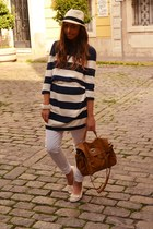white panama Wholesale-Dress hat - navy sweater H&M sweater - bronze bag BLANCO