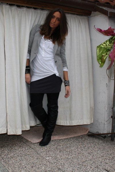 gray Zara blazer - white H&M shirt - gray H&M skirt - black Calzedonia tights -