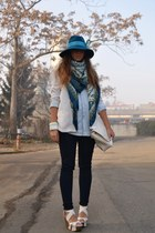 turquoise blue asos hat - navy Zara jeans - white H&M blazer