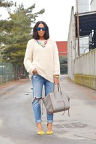 chartreuse H&M shoes - sky blue H&M jeans - eggshell H&M sweater