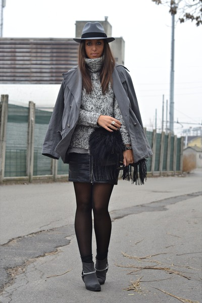 black diy details Cheap Monday boots - heather gray H&M hat