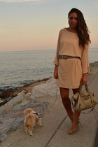 neutral gold dress Zara dress - beige leather bag balenciaga bag - beige wedges