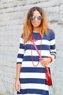 White-no-brand-bracelet-blue-h-m-dress-red-vintage-bag