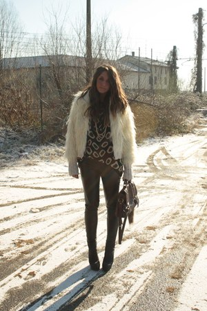 ivory faux-fur Topshop coat - dark brown satchel bag asos bag - black wedges-boo