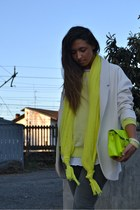 ivory Zara blazer - yellow Stefanel shoes - silver Zara pants