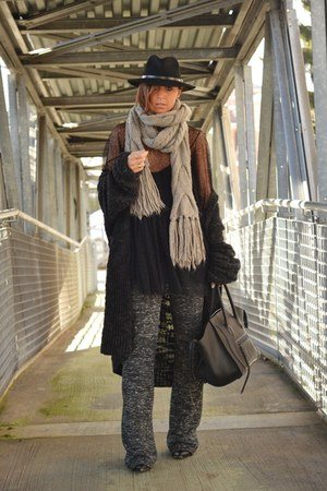gray OASAP dress - black Celine bag - heather gray Zara pants