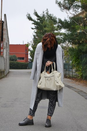 silver Sheinside coat - charcoal gray Dr Martens shoes - white balenciaga bag