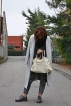 silver Sheinside coat - charcoal gray Dr Martens shoes - white balenciaga bag