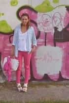 sky blue boyfriend shirt H&M shirt - bubble gum scarf Zara scarf - ivory wedges