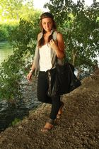 gray Zara vest - white H&M shirt - black Zara pants - gray Zara shoes - black ba