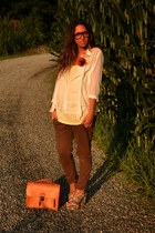 orange satchel bag wwwromwecom bag - ivory blouse H&M blouse - brown pants Zara