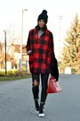 Black-topshop-boots-ruby-red-oasap-coat-gray-h-m-jeans-black-oasap-hat