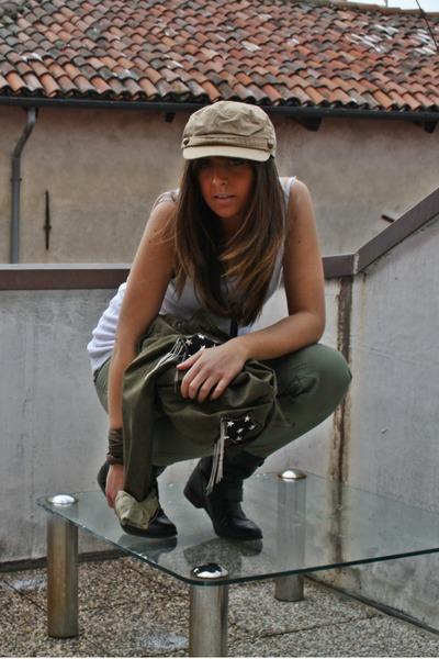 beige H&M hat - white H&M Man top - green Zara pants - black Zara boots - green
