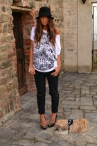 black floppy hat H&M hat - white skull print wholesale-dressnet t-shirt - black