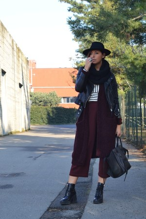 black Celine bag - brick red Zara pants