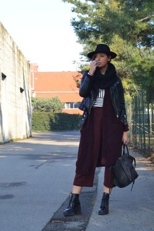 black Celine bag - brick red Zara pants