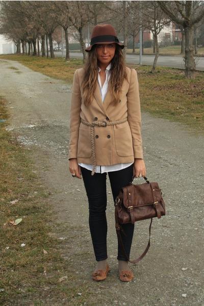 navy zara woman skinny jeans jeans - dark brown hm hat hat - light brown  zara 58e60b75889
