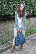 blue Missoni cardigan - white H&M shirt - beige Zara pants - beige Zara boots -