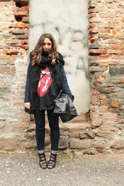 black Zara vest - heather gray H&M tights - navy Zara jeans - black asos boots -
