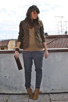 brown H&M jacket - brown Zara t-shirt - gray Zara pants - brown Zara boots - bro